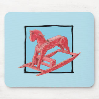 Red Rocking Horse blue Mousepad