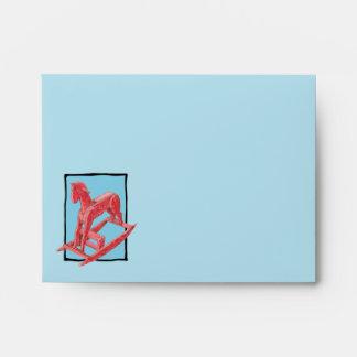Red Rocking Horse blue Note Card Envelope