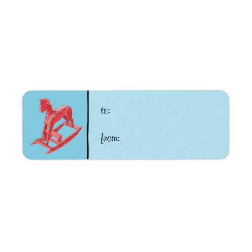 Red Rocking Horse blue small Gift Tag Label