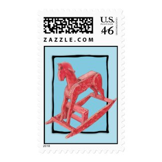 Red Rocking Horse blue Stamp stamp