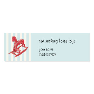 Red Rocking Horse blue stripes small Business Card