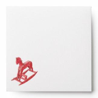 Red Rocking Horse Invitation Envelope envelope