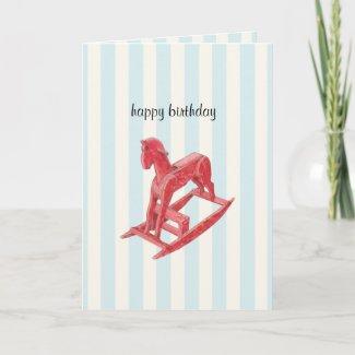 Red Rocking Horse stripes Birthday Card card