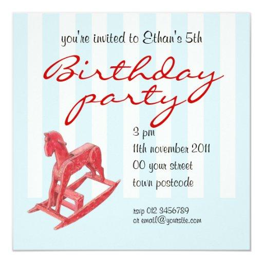 Red Rocking Horse stripes Birthday Invitation