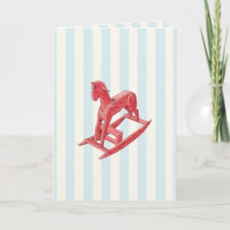 Red Rocking Horse stripes Card card