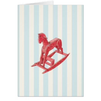 Red Rocking Horse stripes Card
