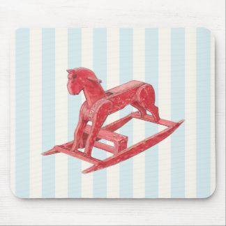Red Rocking Horse stripes Mousepad