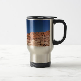Red rocks and blue skies travel mug