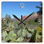 Red Rocks and Cacti I in Sedona Arizona Square Wall Clock