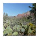 Red Rocks and Cacti I in Sedona Arizona Tile