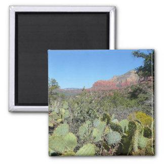 Red Rocks and Cacti I Sedona Arizona Travel Photo 2 Inch Square Magnet