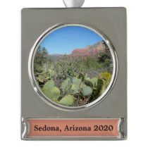 Red Rocks and Cacti I Silver Plated Banner Ornament
