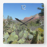 Red Rocks and Cacti I Square Wall Clock
