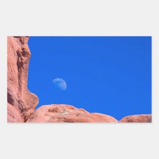 Red Rocks and Moon 02 Rectangular Sticker