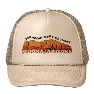 Red rocks make me happy trucker hat