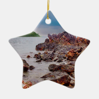 red rocks of fiji Double-Sided star ceramic christmas ornament