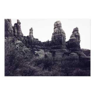 Red Rocks of Sedona in b lack and white Photo Print