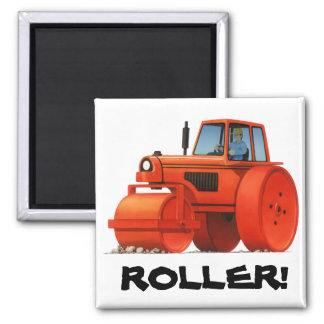 Red Roller 2 Inch Square Magnet
