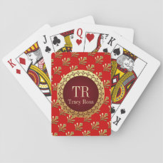 Red Roman Monogram Playing Cards
