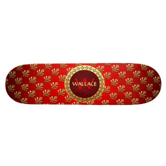 Red Roman Monogram Skateboard