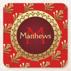 Red Roman Monogram Square Paper Coaster
