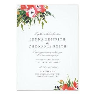 Red Romance Floral Wedding Invitation