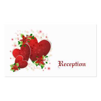 Red Romance Hearts Reception Cards Business Card