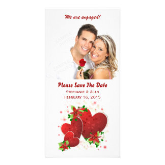 Red Romance Hearts Save The Date Photo Cards