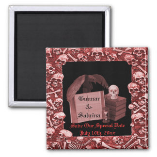 Red Romance Skull Spellbook Wedding Magnet