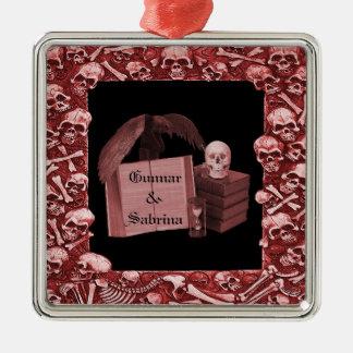 Red Romance Skull Spellbook Wedding Christmas Tree Ornaments