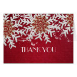 Red Romantic Christmas Snowflakes Thank you card