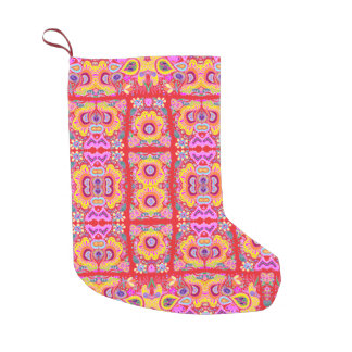 Red Romantic Country Pattern Small Christmas Stocking