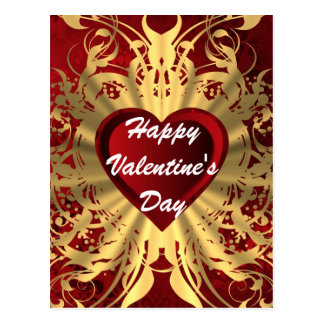 Red romantic love heart Valentines Post Cards