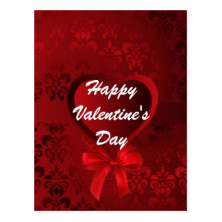 Red romantic love heart Valentines Postcard