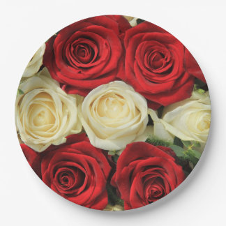Red romantic valentine rose 9 inch paper plate