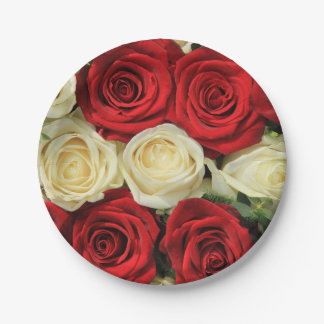 Red romantic valentine rose 7 inch paper plate