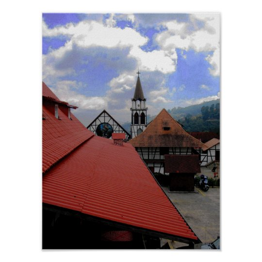 Red Roof Church & Landscape Venezuela Poster