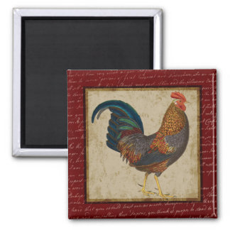 Red Rooster 2 Inch Square Magnet