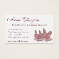 Red Rooster and Hens Plymouth Rock Chickens Farm Business Card
