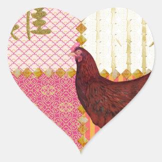 Red Rooster, Bamboo, Chicken Scratch, Ornamental, Heart Sticker