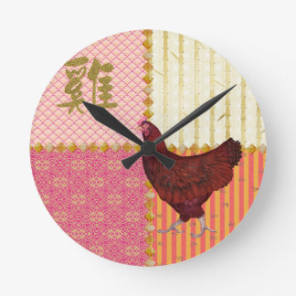 Red Rooster, Bamboo, Chicken Scratch, Ornamental, Round Clock