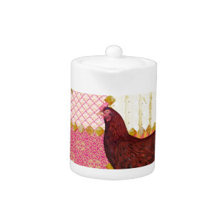 Red Rooster, Bamboo, Chicken Scratch, Ornamental, Teapot