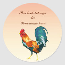 Red Rooster Bird Animal Bookplate