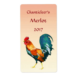 Red Rooster Bird Wine Labels