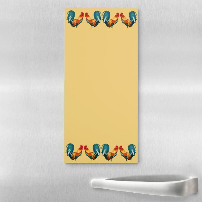 Red Rooster Birds Pattern Magnetic Fridge Notepad