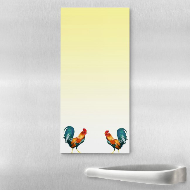 Red Rooster Birds Yellow Magnetic Fridge Notepad
