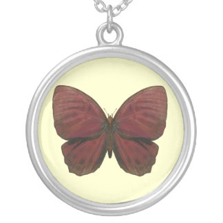 Red Rooster Butterfly Round Pendant Necklace