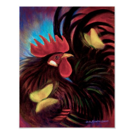 Red Rooster Cock Chicken Painting - Poster