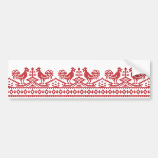 Red Rooster cross-stitch Bumper Sticker