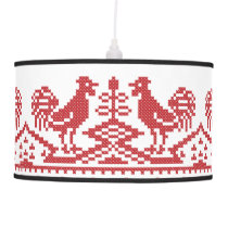Red Rooster cross-stitch design Hanging Lamp